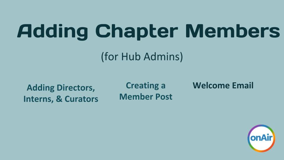 Adding a Chapter Member 2