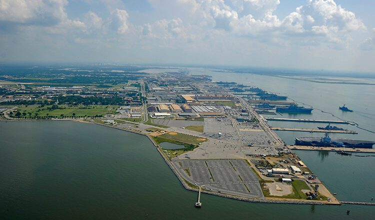 An aerial view of Norfolk Naval Station, the largest naval base in the world