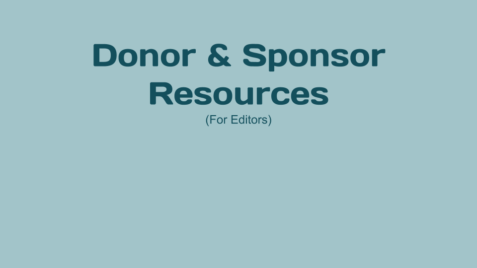 Donor and Sponsor Resources